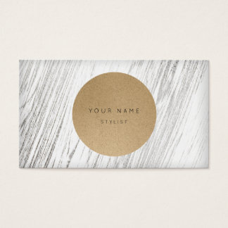 Next Appointment Circle Kraft Silver White Wood Business Card