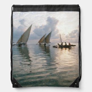 Ngalawas Boats At Dawn, Pemba Island, Tanzania Drawstring Bag