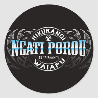 Ngati Porou Lifer Moko Chrome Classic Round Sticker