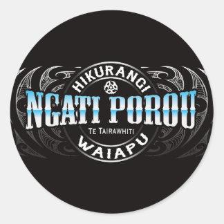 Ngati Porou Lifer Moko Chrome Round Sticker