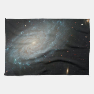 NGC 3370, deep space, spiral galaxy Tea Towel