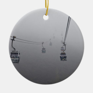 Ngong Ping Cable Car in thick fog Christmas Ornament