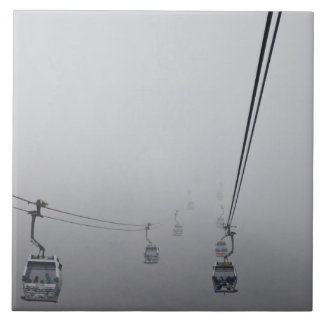 Ngong Ping Cable Car in thick fog Tile
