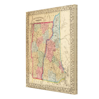 NH, Vermont Map by Mitchell Canvas Print