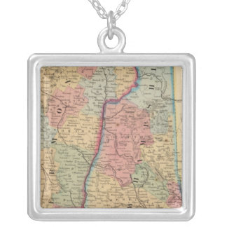 NH, Vermont Map by Mitchell Silver Plated Necklace
