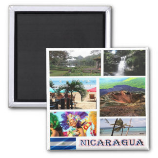 NI - Nicaragua - Volcano Mosaic - Collage Square Magnet