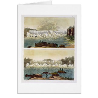 Niagara Falls, 1818 (colour engraving) Card
