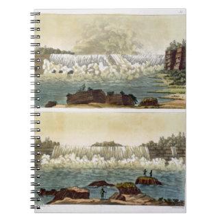 Niagara Falls, 1818 (colour engraving) Spiral Notebook
