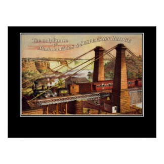 Niagara Falls and Suspension Bridge Poster