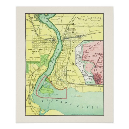 Niagara Falls and Vicinity Vintage Map 1885 Poster