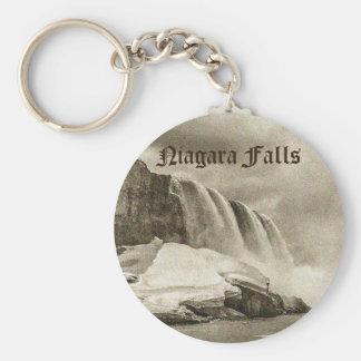 Niagara Falls Antique Sepia Basic Round Button Key Ring