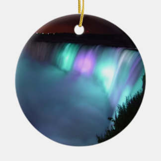 Niagara Falls Canada Night Purple Aqua Ornaments