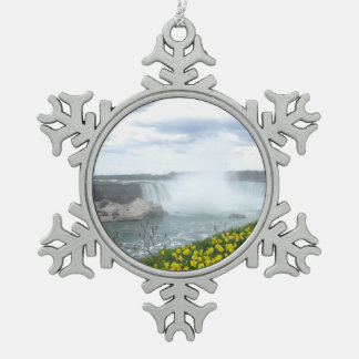 Niagara Falls Canadian Side Snowflake Pewter Christmas Ornament