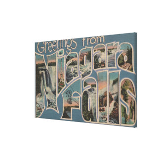 Niagara Falls, New York - Large Letter Scenes 2 Canvas Print