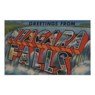 Niagara Falls, New York - Large Letter Scenes Poster