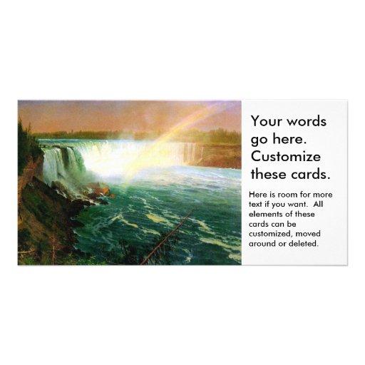Niagara falls painting art artist Albert Bierstadt Custom Photo Card