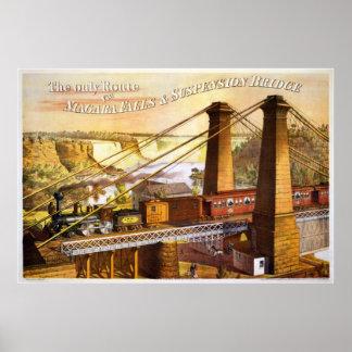 Niagara Falls Suspension Bridge  1876 Poster