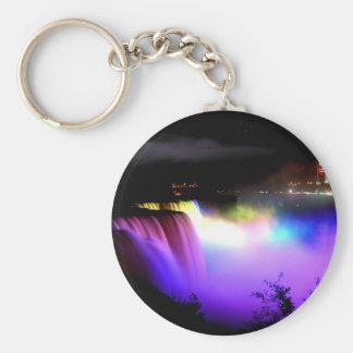 Niagara-Falls-under-floodlights-at-night Basic Round Button Key Ring