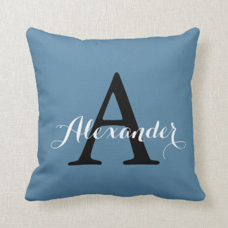 Niagara Ocean Denim Blue Solid Color Monogram Throw Pillow