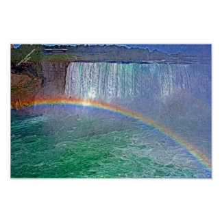 Niagra waterfalls rainbow poster