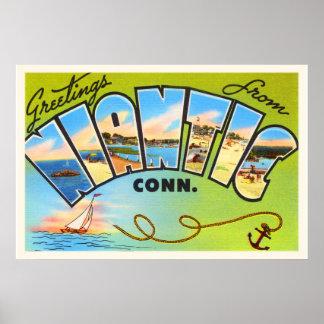 Niantic Connecticut CT Old Vintage Travel Souvenir Poster
