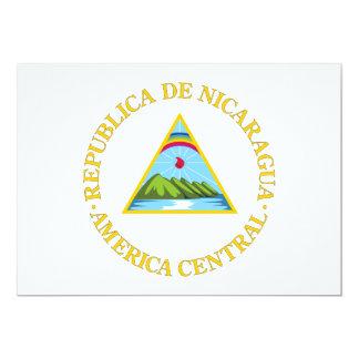 Nicaragua Coat of Arms 13 Cm X 18 Cm Invitation Card