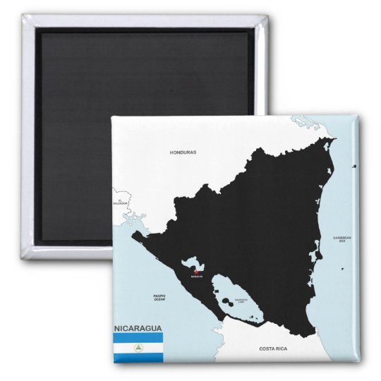 nicaragua country political map flag square magnet