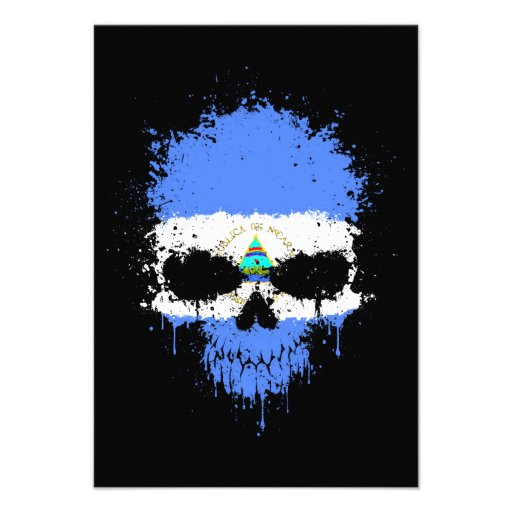 Nicaragua Dripping Splatter Skull Personalized Invitations