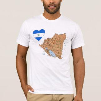 Nicaragua Flag Heart and Map T-Shirt