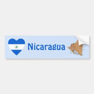 Nicaragua Flag Heart + Map Bumper Sticker