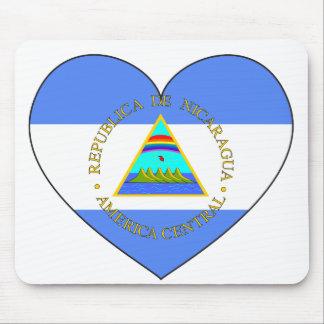 Nicaragua Flag Heart Mouse Mat