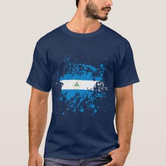 Nicaragua Flag Ink Splatter T-Shirt