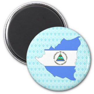 Nicaragua Flag Map full size 6 Cm Round Magnet