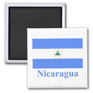 Nicaragua Flag with Name Square Magnet