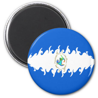 Nicaragua Gnarly Flag 6 Cm Round Magnet