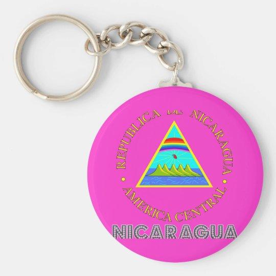 Nicaraguan Emblem Basic Round Button Key Ring