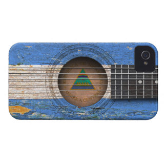 Nicaraguan Flag on Old Acoustic Guitar iPhone 4 Cover