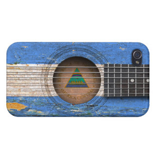 Nicaraguan Flag on Old Acoustic Guitar iPhone 4/4S Covers