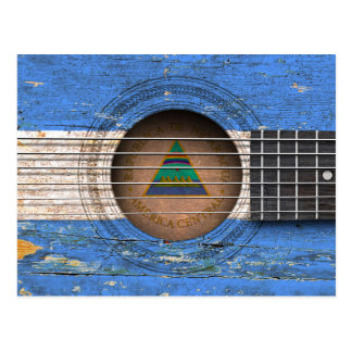 Nicaraguan Flag on Old Acoustic Guitar Postcard