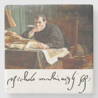 Niccolò Machiavelli in his study, by Stephano Ussi Stone Coaster