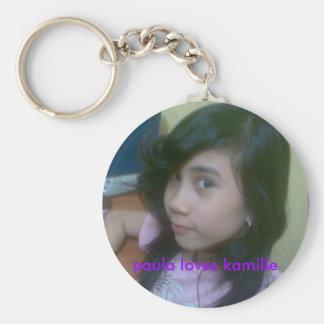 nice1, paula loves kamille basic round button key ring