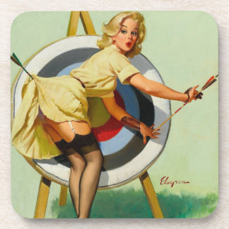 Nice Archery Shot - Retro Pin Up Girl Coaster