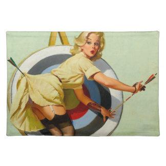 Nice Archery Shot - Retro Pin Up Girl Placemat