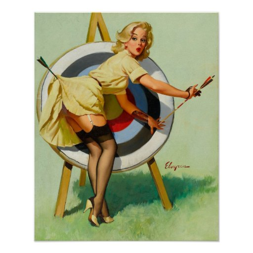 Nice Archery Shot - Retro Pin Up Girl