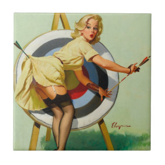 Nice Archery Shot - Retro Pin Up Girl Small Square Tile