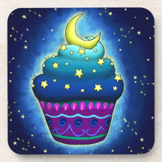 Nice blue Cupcake with moon and star Coaster