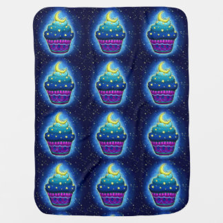 Nice blue Cupcake with moon and stars Receiving Blanket
