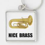 Nice Brass Tuba Silver-Colored Square Key Ring
