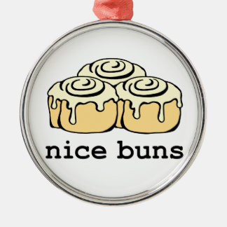 Nice Buns Cinnamon Roll Funny Cartoon Design Silver-Colored Round Decoration