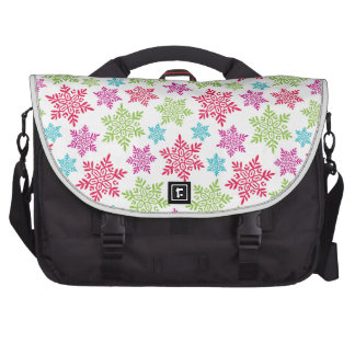 Nice Christmas red, green, pink, blue snowflakes Laptop Bag